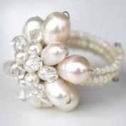 White Pearl Flower Gemstone Ring by Flower GemStone