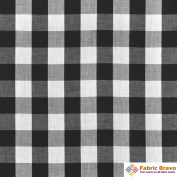Black & White 2.5cm Chequered Gingham Poly Cotton, 150cm Wide By The Yard