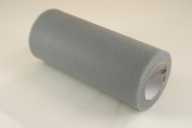 15cm Dark Silver Grey Craft Tulle Roll 25 Yards