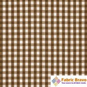 Brown & White 0.6cm Inch Chequered Gingham Poly Cotton, 150cm Wide By the Yard