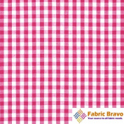 Fuchsia & White 0.6cm Inch Chequered Gingham Poly Cotton, 150cm Wide By the Yard