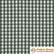 Green & White 0.6cm Inch Chequered Gingham Poly Cotton, 150cm Wide By the Yard