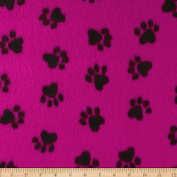 Fleece Paw Print Black/Hot Pink Fabric