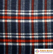 Navy Blue & Red Rect Ii Anti Pill Plaid Fleece Fabric, 150cm Wide and Sold By the Yard