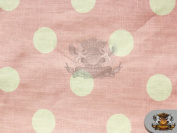 Polycotton Printed POLKA DOTS WHITE PINK Fabric / 150cm Wide / Sold by the yard