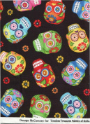 Timeless Treasures Fabric Fun Cantina Skull Fabric GM-C 1847 ~ HALF YARD ~ Fun Folk Art Sugar Skulls Skull Tattoo Quilt Fabric 100% Cotton 110cm Wide