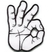 Ok Okay Hand Sign Signal Logo Retro Applique Iron-on Patch New S-795 Handmade Design From Thailand