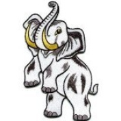 Bull Elephant Pachyderm Tusker Wildlife Big 13cm x 20cm . Applique Iron-on Patch S-602 Handmade Design From Thailand...