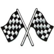 Chequered Flag Chequered Auto Car Racing Rockabilly Applique Iron-on Patch S-601 Handmade Design From Thailand...