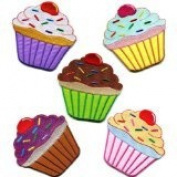 Lot of 5 Cupcake Retro Fairy Cake Cup Sweets Dessert Applique Iron-on Patches Handmade Design From Thailand