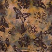 Batik Textiles Brown w/ Butterflies Sold in 1/2 Yard Increments
