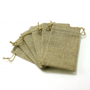 6 Burlap Drawstring Bags 10cm X 15cm