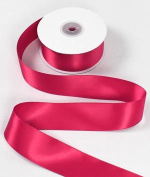 2.5cm - 1.3cm Hot Pink Double Face Satin Ribbon - 25 Yards