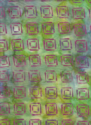 Blank Quilting Sumatra Lime Green with Purple Squares Batik 6557 Seaweed Quilt Fabric 100% Cotton 110cm Wide - HALF YARD