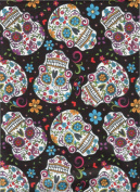 David Textiles Fabric Fun Folk Folkloric Art Skull Fabric DT-2888-2C Sugar Skulls Skull Tattoo Quilt Fabric 100% Cotton 110cm Wide - HALF YARD ~ On Black Background