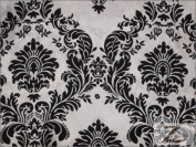 DAMASK FLOCKED TAFFETA FABRIC - White/Black - $6.50/YARD 90cm x 150cm SOLD BTY