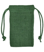 7.6cm x 13cm Hunter Green Jute Favour Bags - 12 Pack