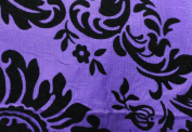 DAMASK FLOCKED TAFFETA FABRIC 150cm /150cm WIDE BY THE YARD PURPLE/BLACK