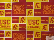 NCAA COLLEGE PRINT COTTON FABRIC - USC Trojans - 110cm WIDTH SOLD BY THE YARD