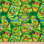 Nickelodeon Teenage Mutant Ninja Turtles Heros in a Half Shell Toss Green Fabric