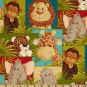 Jungle Babies Patchwork Animals Green Fabric