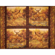 Hautman Deer Panel Brown Fabric