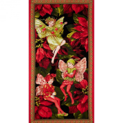 Michael Miller Christmas Flower Fairies Panel Red Fabric