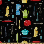 Kitchen Utensils Black Fabric