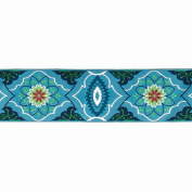 5.1cm Amy Butler Blue On Navy Belle Brocade Ribbon Fabric