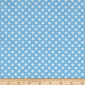 Flannel Polka Dots Light Blue Fabric