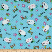 Flannel Sheep Blue Fabric