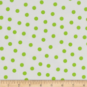 Oil Cloth Polka Dot White/Lime Green Fabric