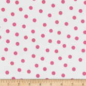Oil Cloth Polka Dot White/Pink Fabric
