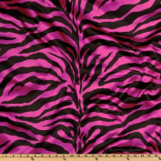 Charmeuse Satin Zebra Fuschia/Black Fabric