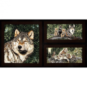 Wolf Song Panel Brown Fabric