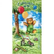 Corduroy Bear Panel Watch Me Grow Growth Chart Blue Fabric