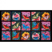 Butterfly Garden 60cm Panel Black Fabric