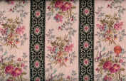 Clothworks 'Clarabelle' Roses and Stripes Cotton Fabric - 70cm