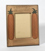 "22cm wide x 28cm high Rustic ""Welcome"" Wood Frame with Folk Art Pineapples Accenting Each Side - Package of 2 Frames"