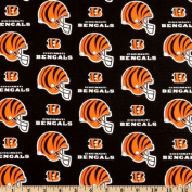 NFL Cotton Broadcloth Cincinnati Bengals Helmets Orange/Black Fabric