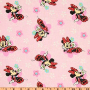 Minnie Mouse Floral Badges Pink Fabric