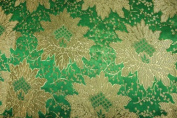 Green Jacquard Brocade Fabric with a Nice Flower Design