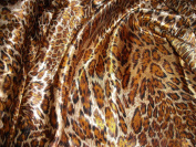 Feline Fancy Animal Skin Leopard Print Amber Silky Satin Charmeuse 100% Polyester 150cm Wide - ONE YARD