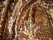 Feline Fancy Animal Skin Leopard Print Amber Silky Satin Charmeuse 100% Polyester 150cm Wide - ONE YARD
