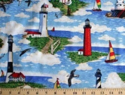 Lighthouses Scene Big Sable Lighthouse on Blue Water Cotton Fabric Print