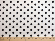 Spot on Black Dots on White Cotton Fabric Print by the Yard