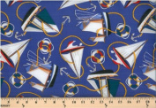 Cotton Nautical Sail Sailboats Yachts Anchors on Blue Cotton Fabric Print