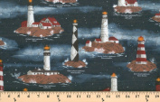Lighthouse Lighthouses Famous Harbour Lights House Cotton Fabric Print