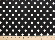 Spot on White Dots on Black Cotton Fabric Print by the Yard