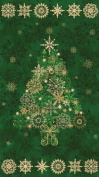 60cm x 110cm PANEL Starry Night Christmas Tree Cotton Fabric Panel - Evergreen Green